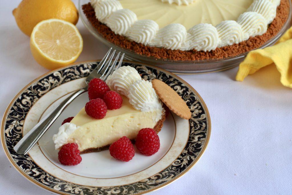 Lemon Cream Pie Slice with Fresh  Raspberries