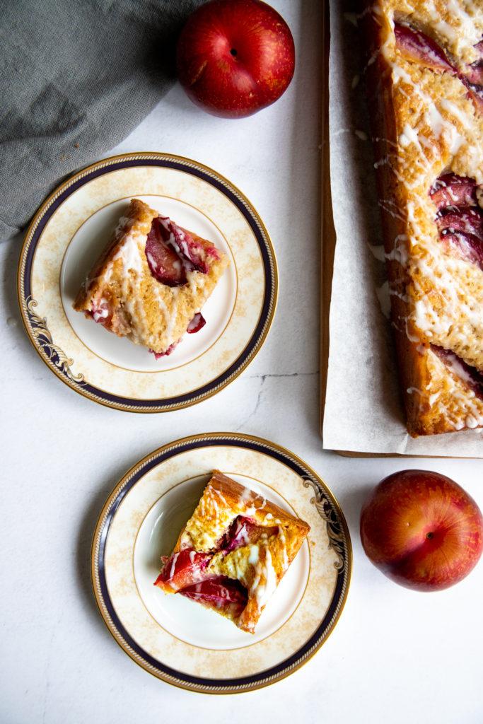 Fresh Plum Cake with a Lemon Glaze