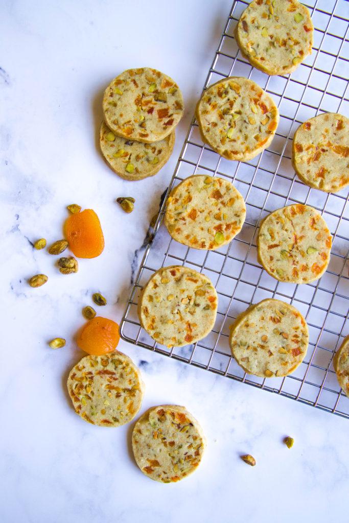 Apricot and Pistachio Shortbread Cookies