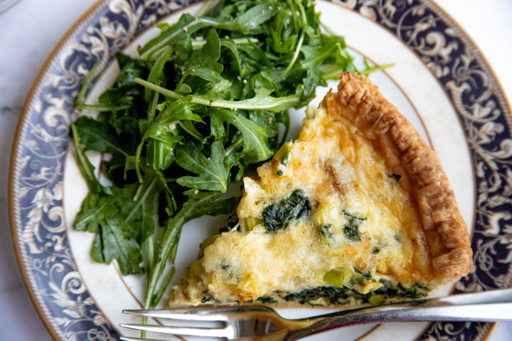 Spinach and Leek Quiche with Gruyere Cheese