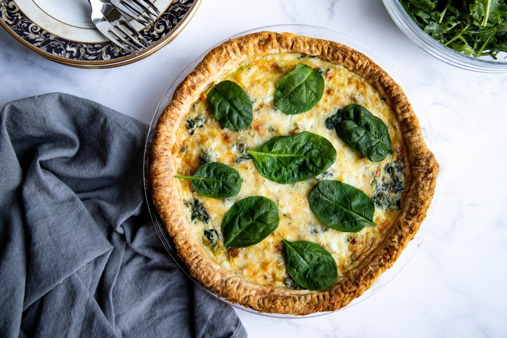 Spinach and Leek Quiche with extra spinach