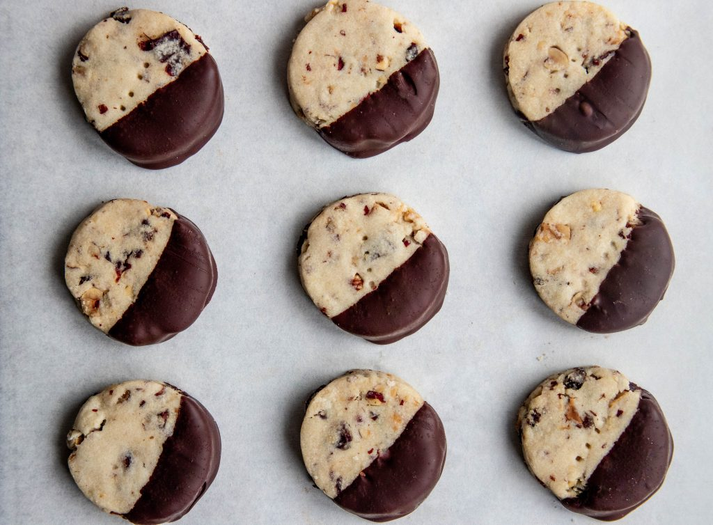 Chocolate Cherry Hazelnut Shortbread Cookies
