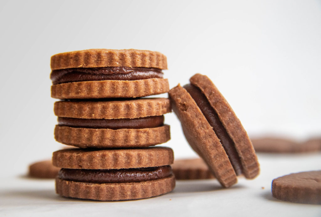 Chocolate Shortbread Sandwich Cookies with Chocolate Ganache