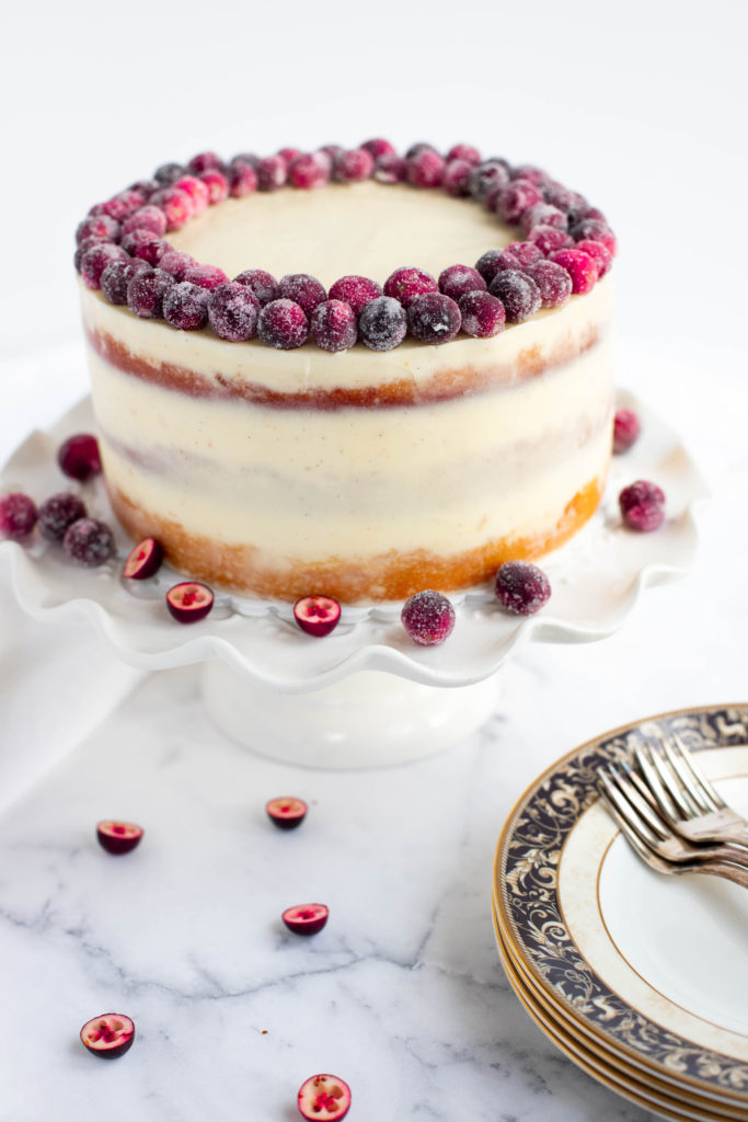 Orange Butter Cake with Cranberry Curd Filling