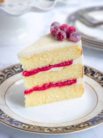 Orange Butter Cake Slice with Cranberry Curd Filling