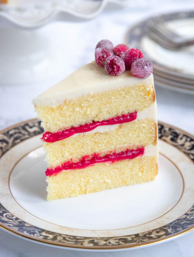 Orange Butter Cake Slice with Cranberry Curd Filling