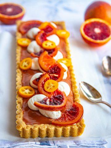 Blood Orange Curd Tart with Candied Oranges