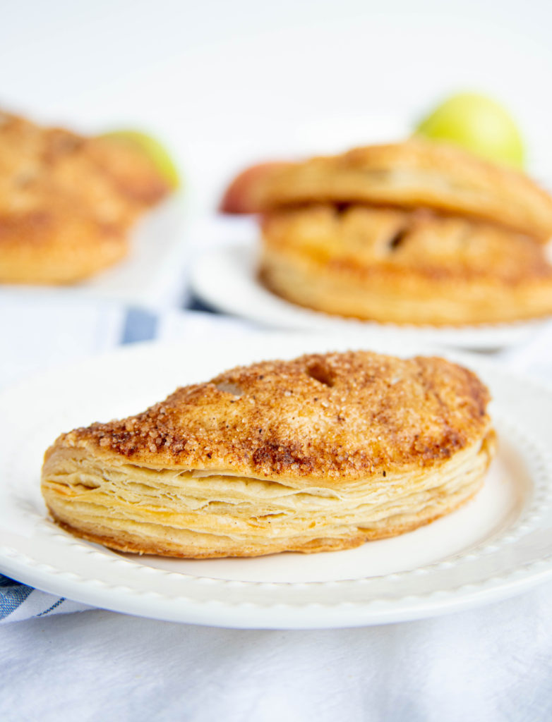Double Apple Hand Pies on a White Plate