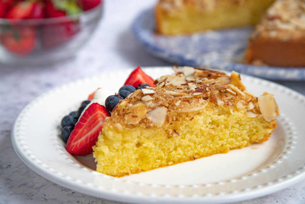 Spanish Almond Cake with brown sugar and toasted almond topping