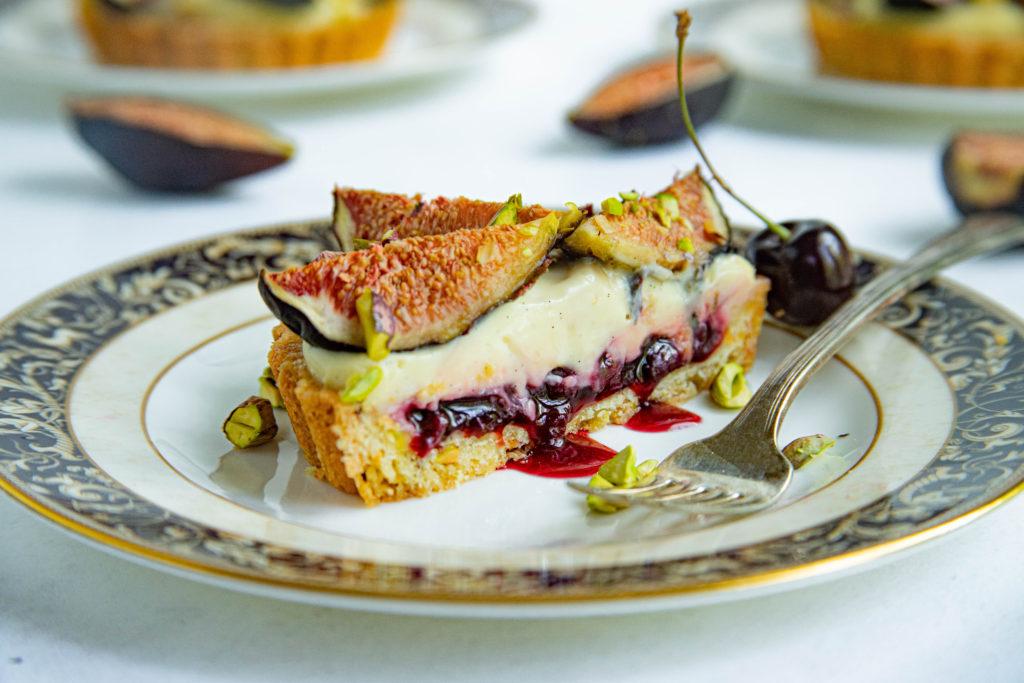 Fig and Cherry Pistachio Tart with Homemade Cherry Jam