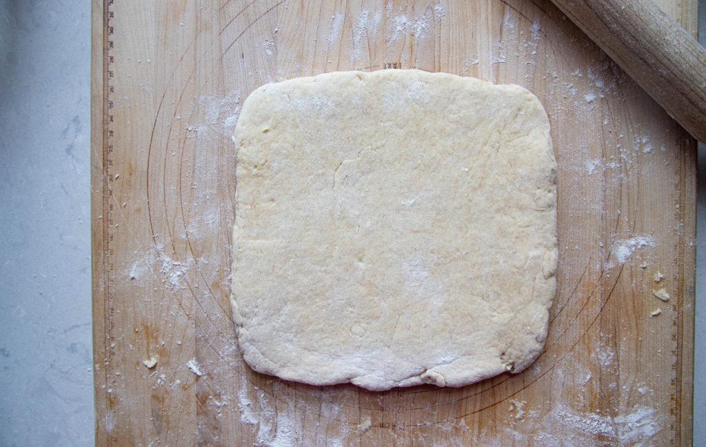 Dough shaped into square