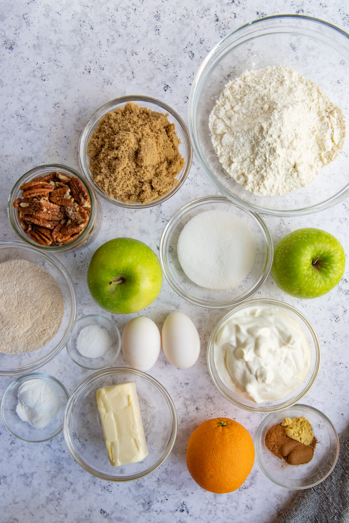 Apple Spice Streusel Muffin Ingredients measured and in separate bowls