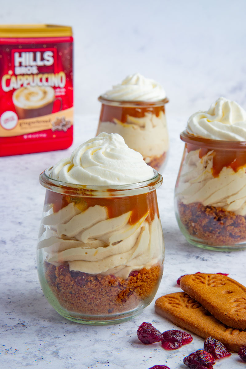 Gingerbread Cappuccino Cheesecake Jars with Hills Bros. Cappuccino