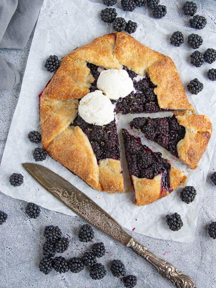 Blackberry Galette with Vanilla Ice Cream