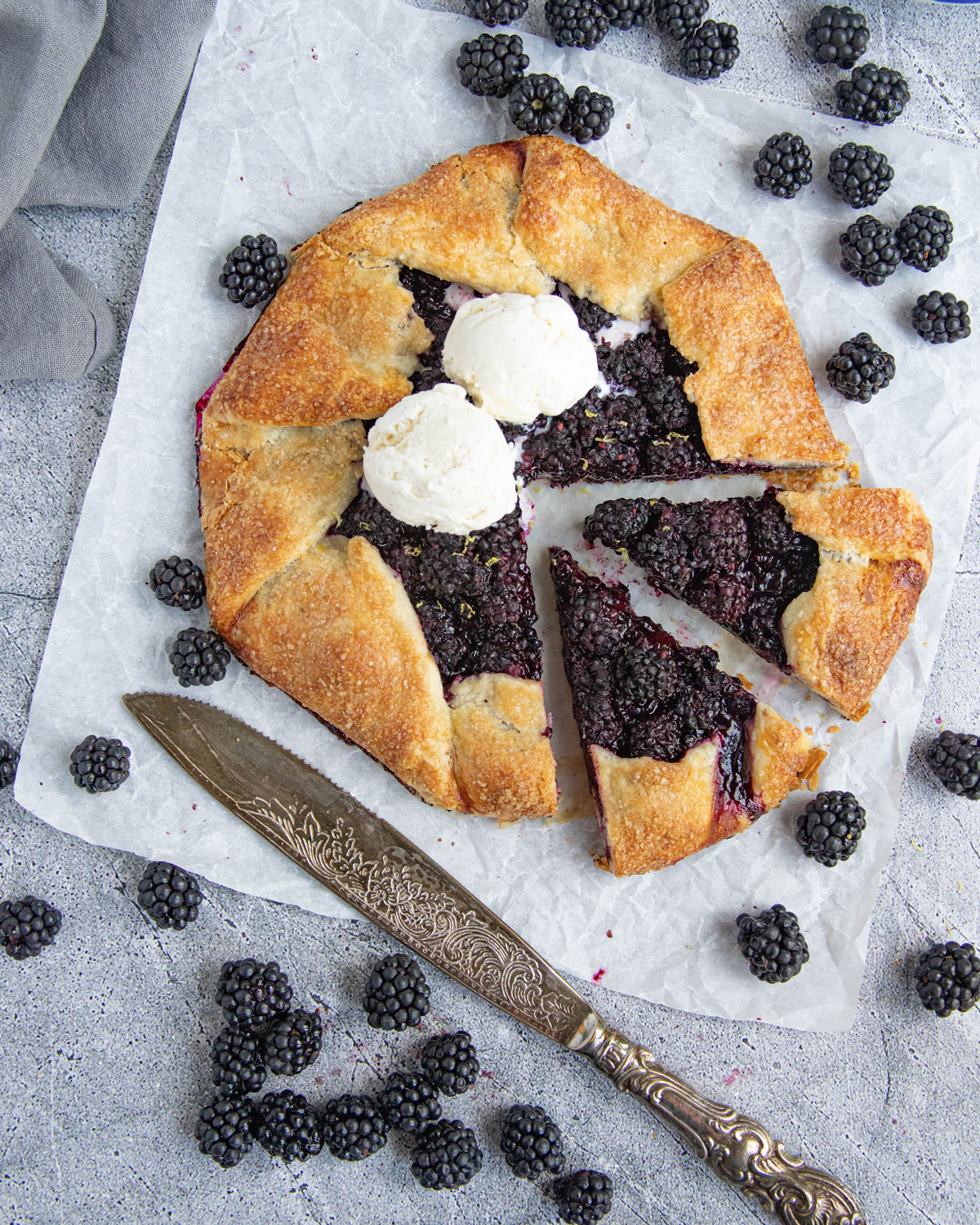 Blackberry Galette with Vanilla Ice Cream