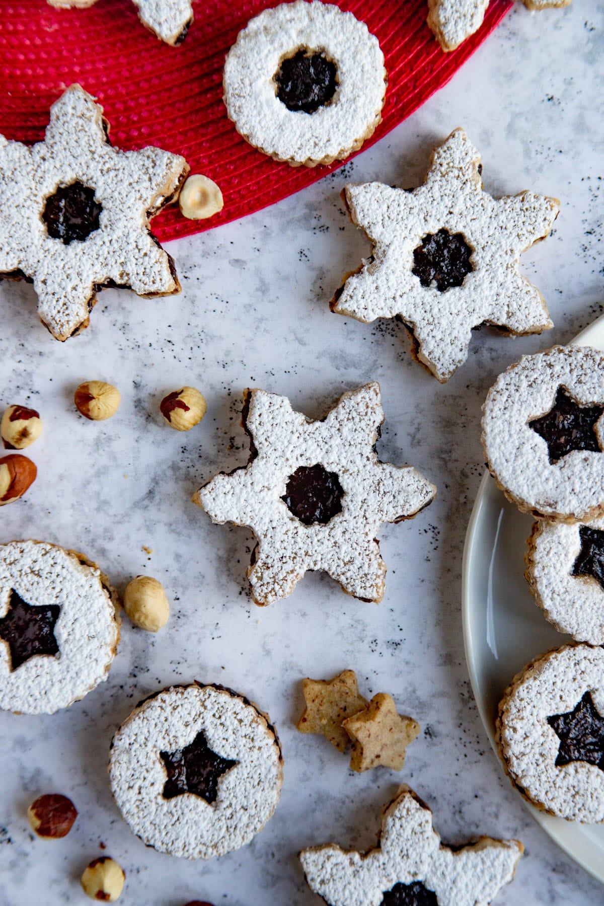 Hazelnut and Prune Jam Linzer Cookies with toasted hazelnuts