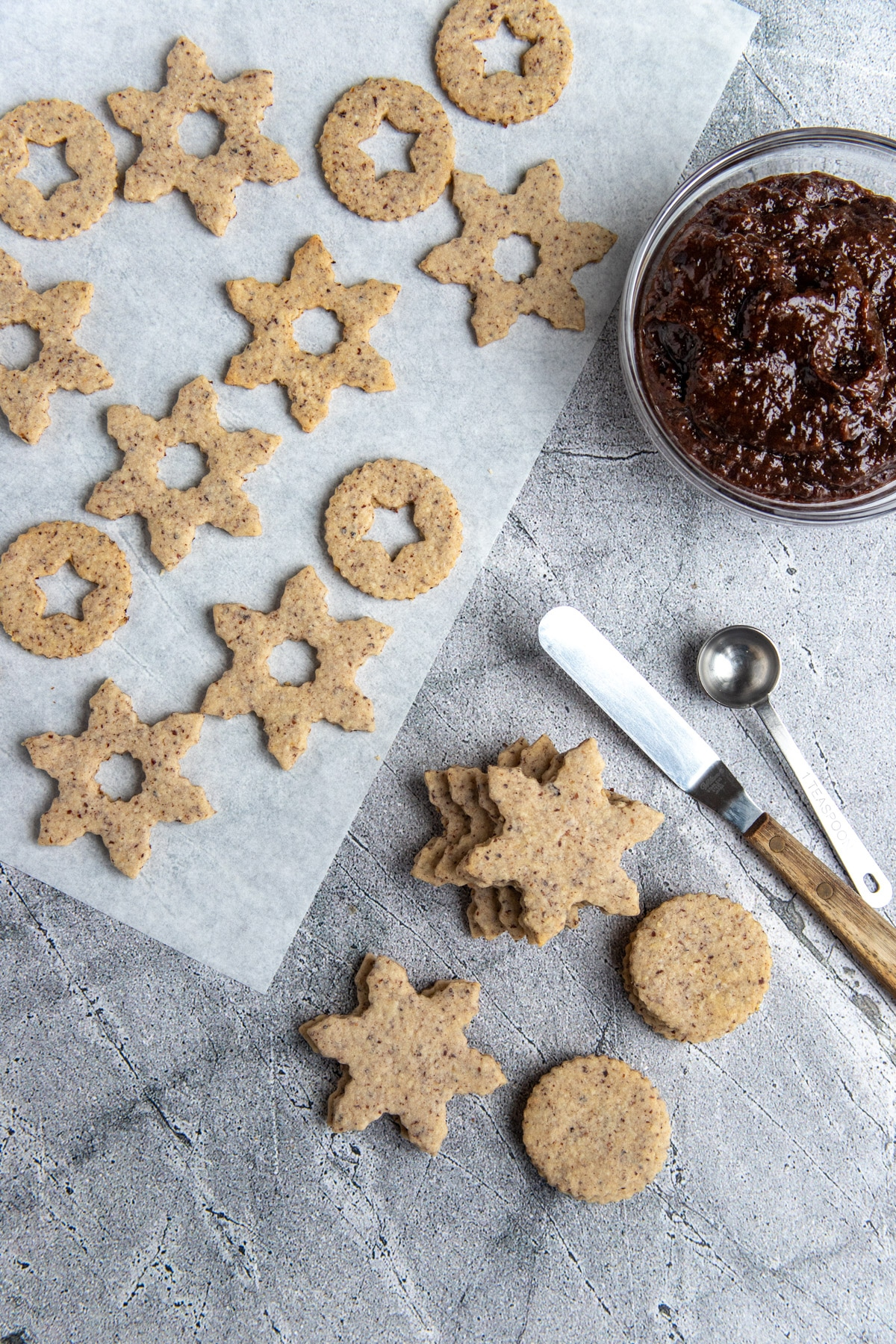 Hazelnut Linzer Cookies ready to be filled with prune jam