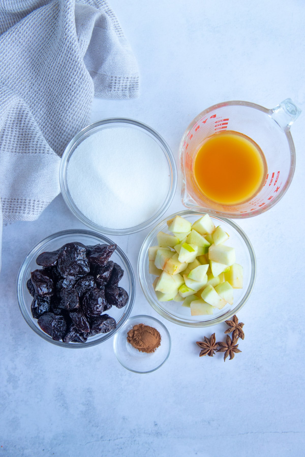Prunes, Chopped Apple, Sugar, Apple Cider, Spices