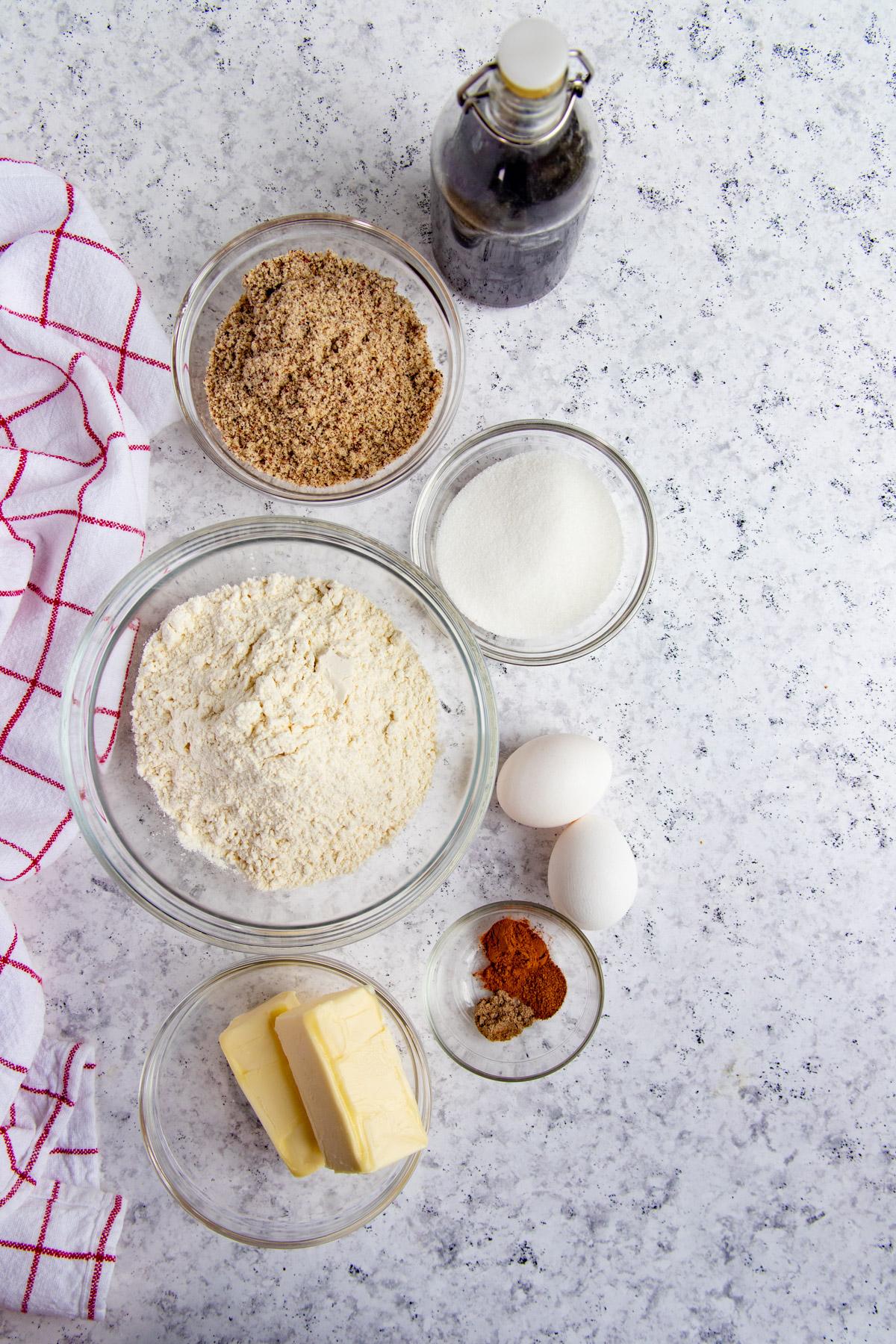Hazelnut Linzer Cookie Ingredients