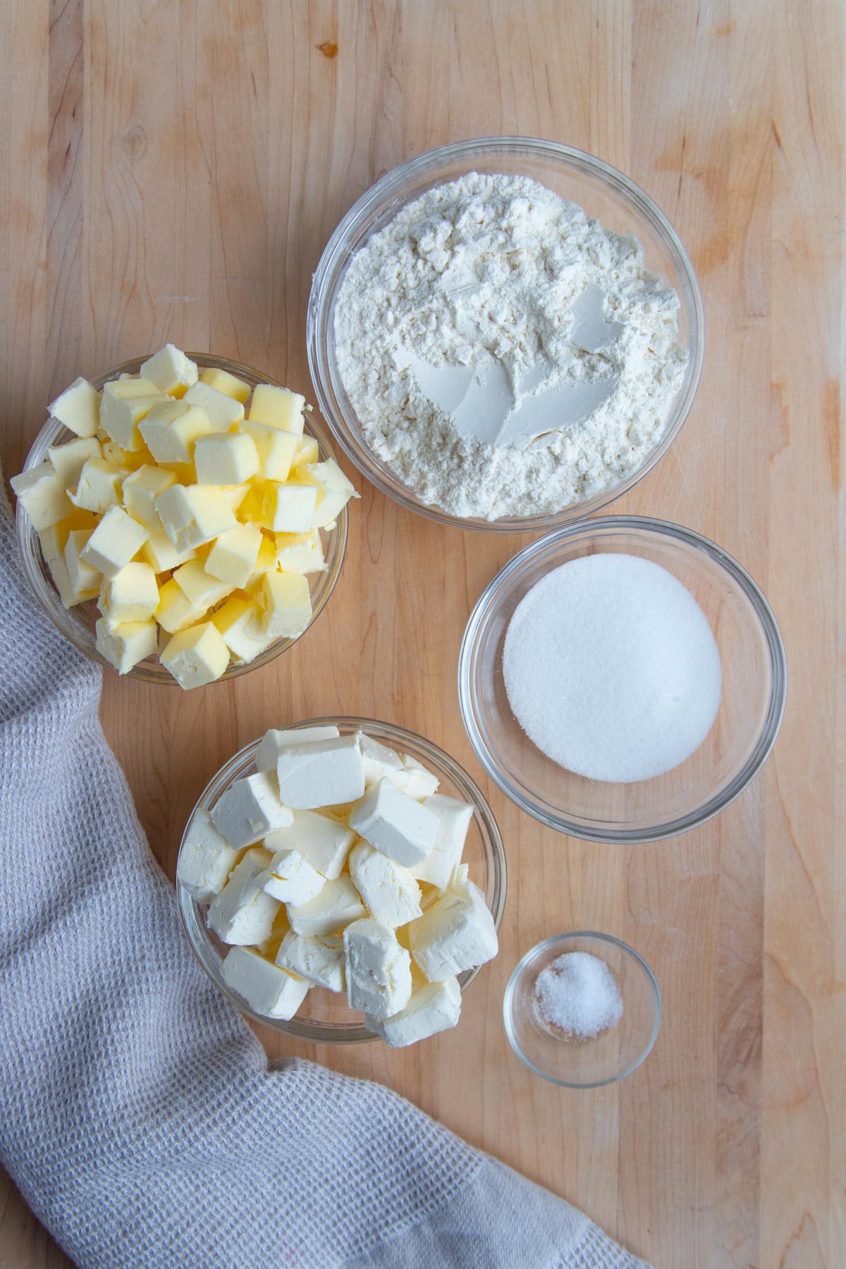 Butter, cream cheese, flour, sugar and salt