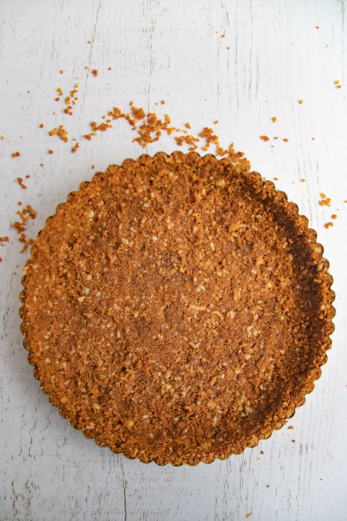 Ginger Coconut Cookie Crust pressed into 9-inch tart pan