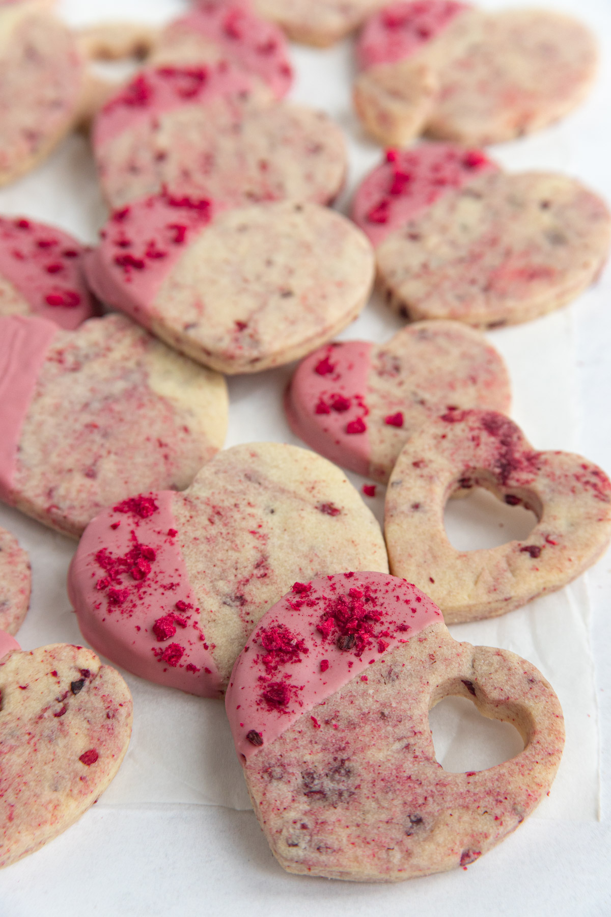 Raspberry Shortbread Cookies with Ruby Chocolate Glaze