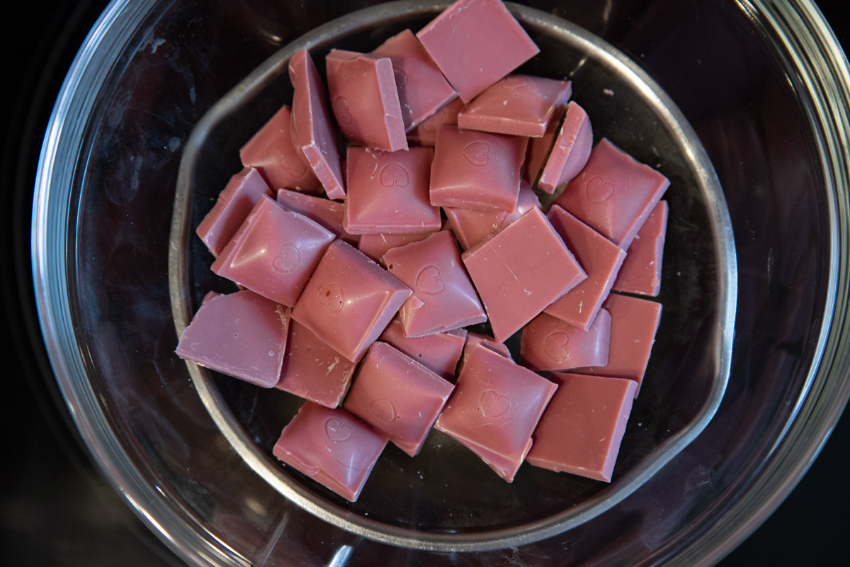 Ruby chocolate in a double boiler
