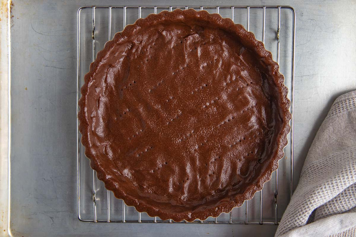 Chocolate Tart Crust Placed on Wire Rack