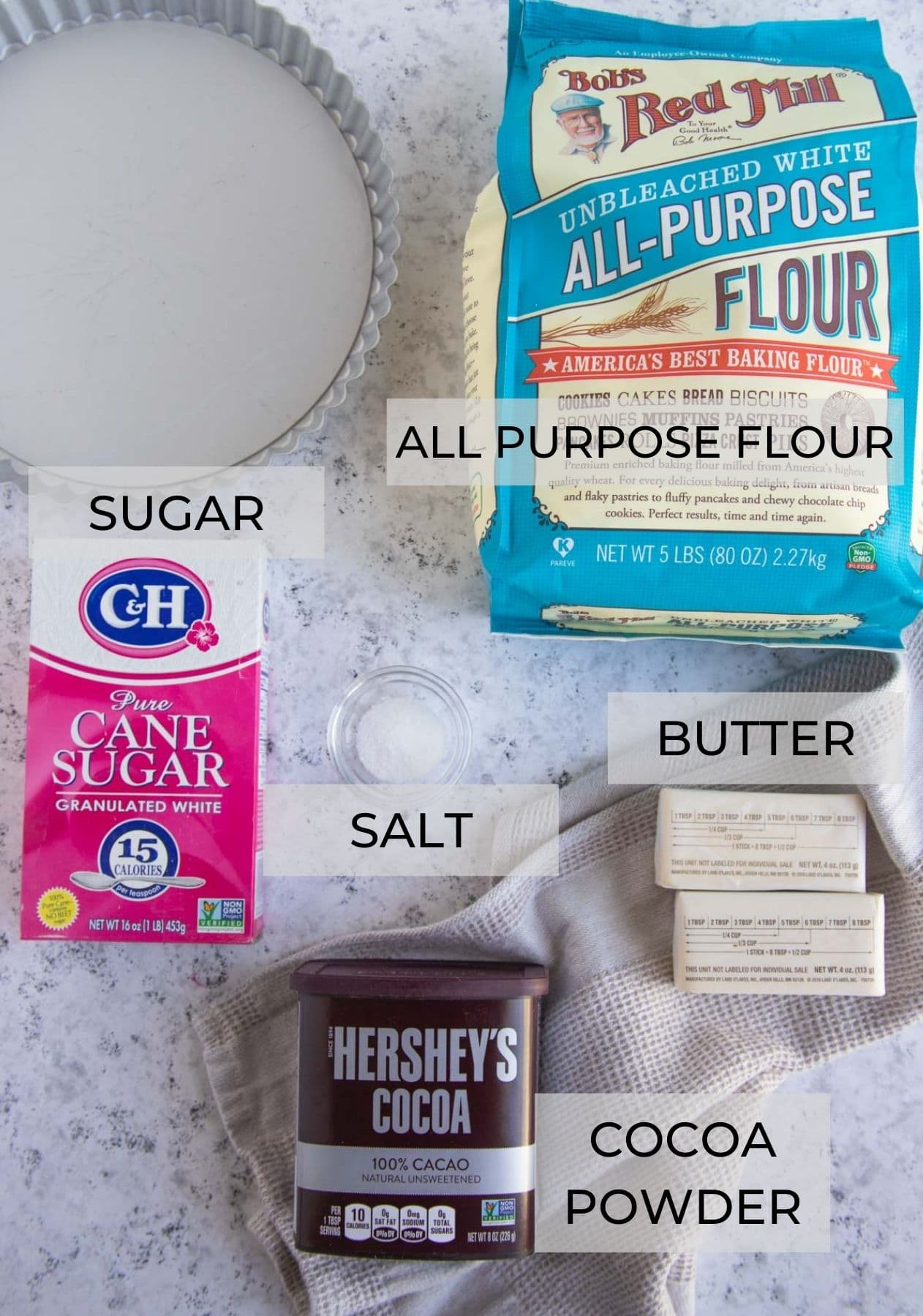 Chocolate Tart Ingredients - Flour, Sugar, Cocoa, Butter and Kosher Salt