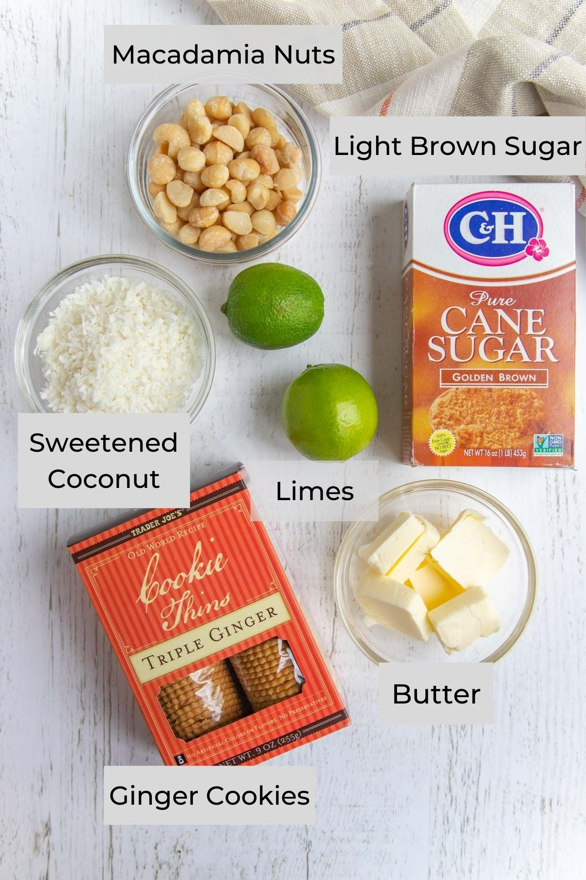 Ginger Cookie Crust Ingredients - Ginger Cookies, Sweetened Coconut, Nuts, Limes, Light Brown Sugar, Butter