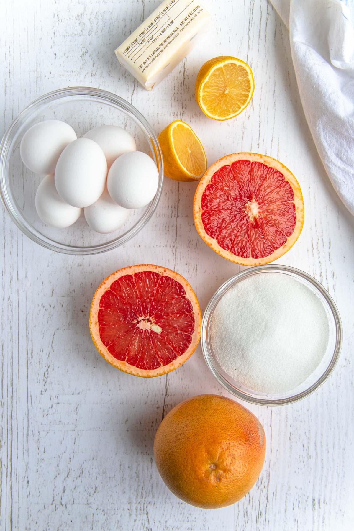 Grapefruit Curd Ingredients - Grapefruit, Eggs, Lemon and Sugar