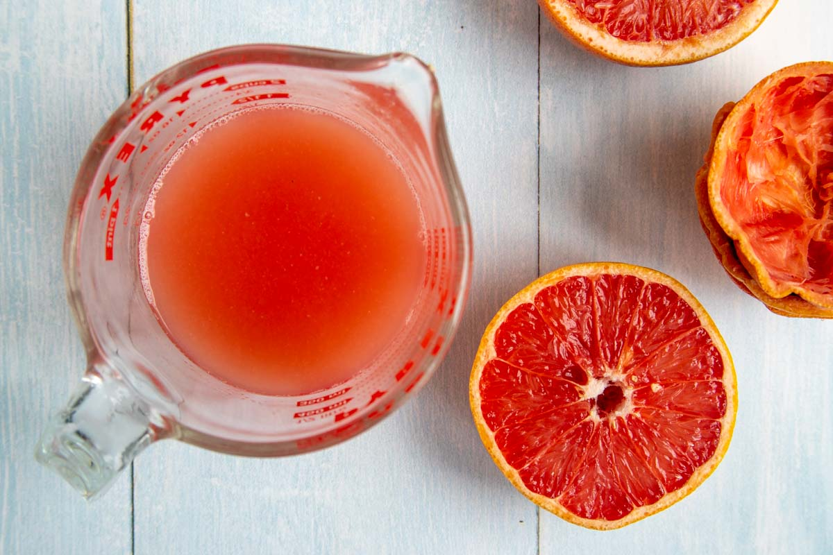 Fresh Squeezed Grapefruit Juice in a Measuring Cup