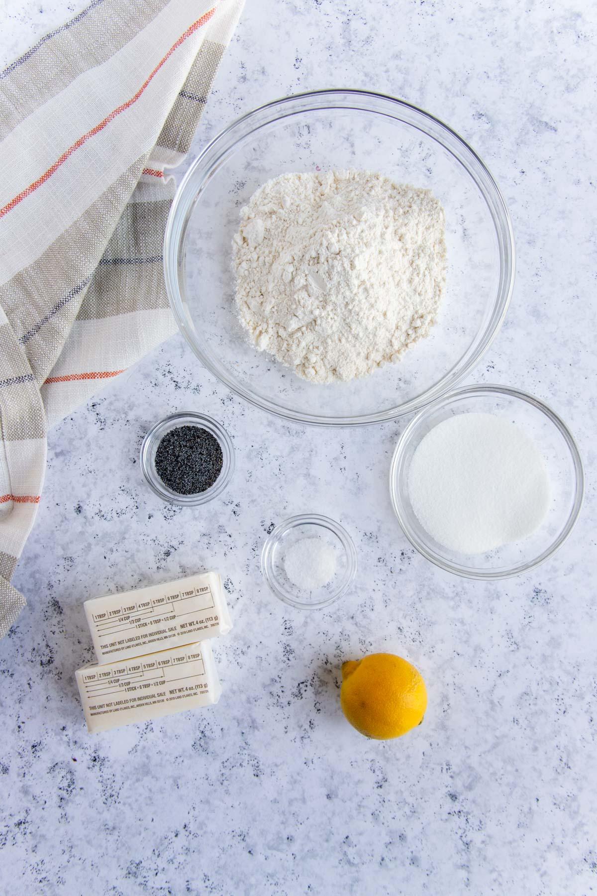 Lemon Poppy Seed Tart Crust Ingredients - Flour, Sugar, Poppy Seeds, Lemon, Butter and Salt