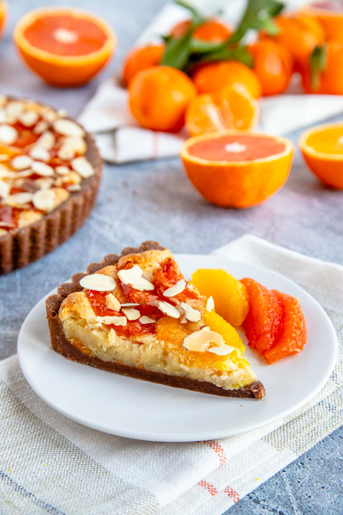 Orange and Chocolate Almond Tart Sprinkled with Toasted Almonds
