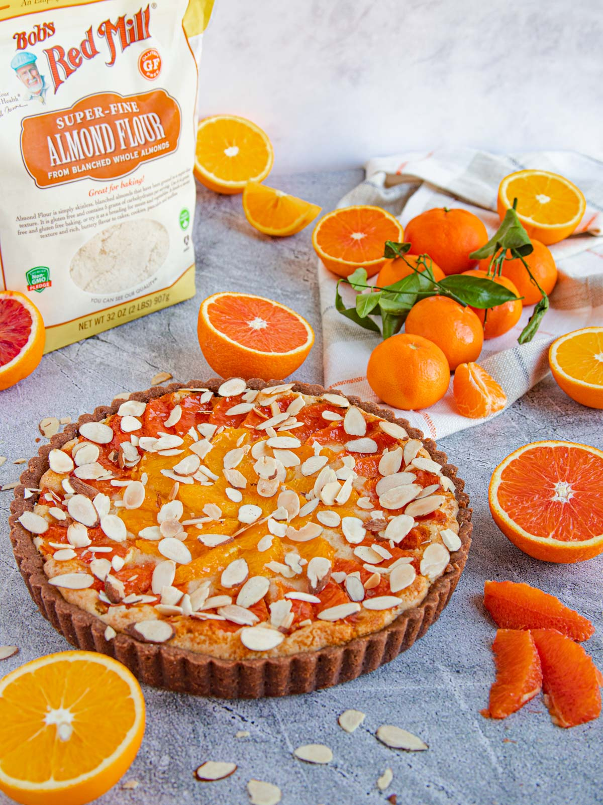 Orange and Chocolate Almond Tart with Package of Bob's Red Mill Almond Flour