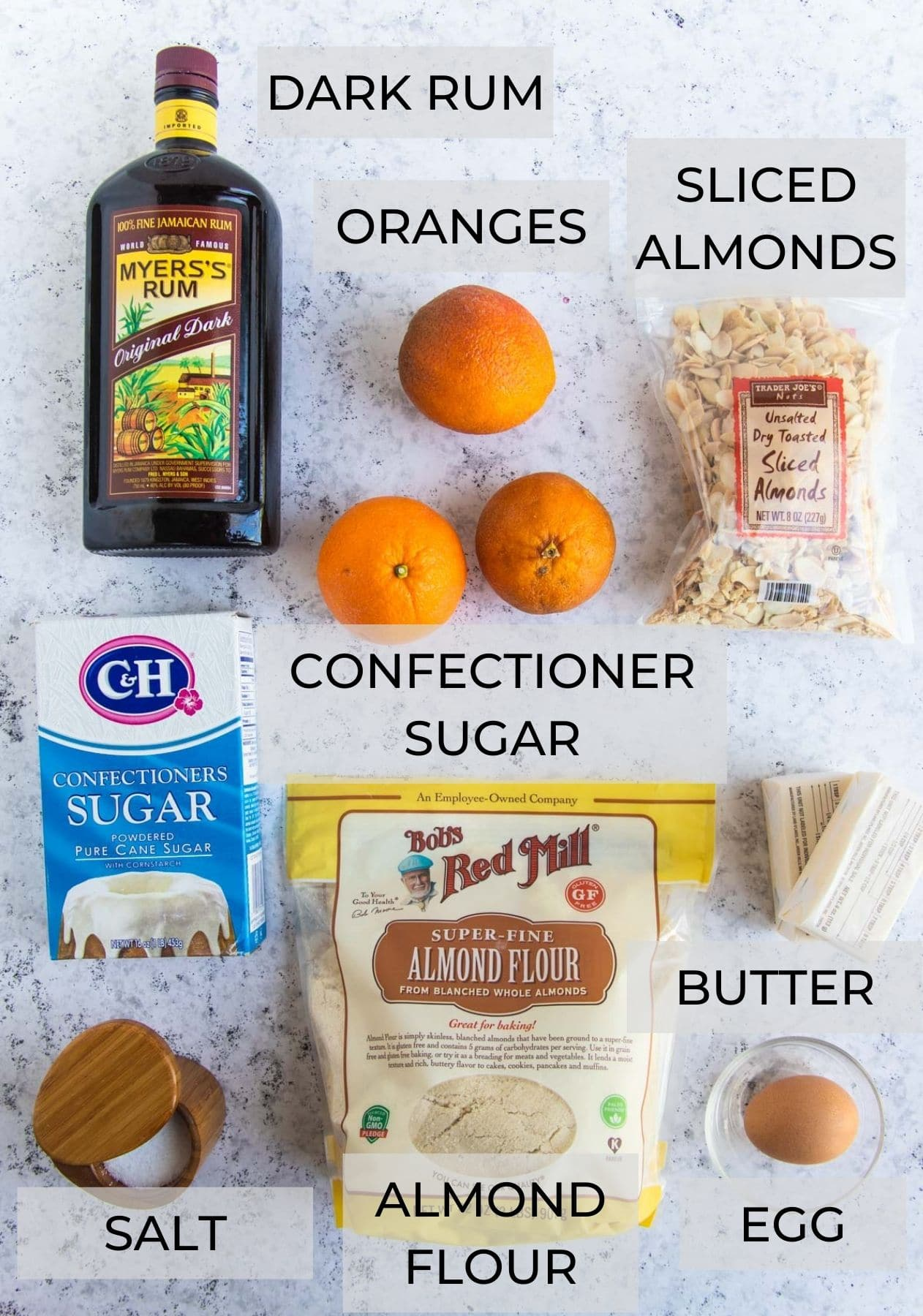 Orange and Almond Cream Ingredients - Almond Flour, Toasted Almonds, Butter, Egg, Confectioners Sugar, Kosher Salt, Fresh Oranges and Rum