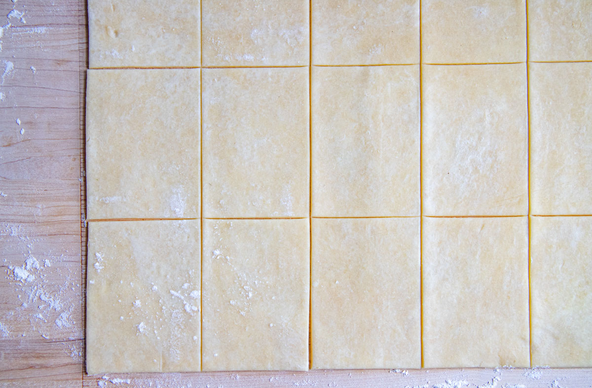 Pie dough cut into 15 rectangles