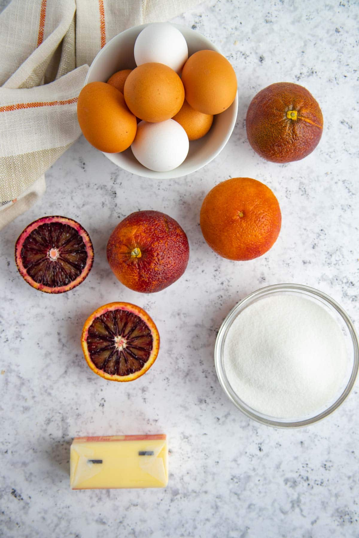 Blood Orange Curd Ingredients - Eggs, Blood Oranges, Sugar and Butter