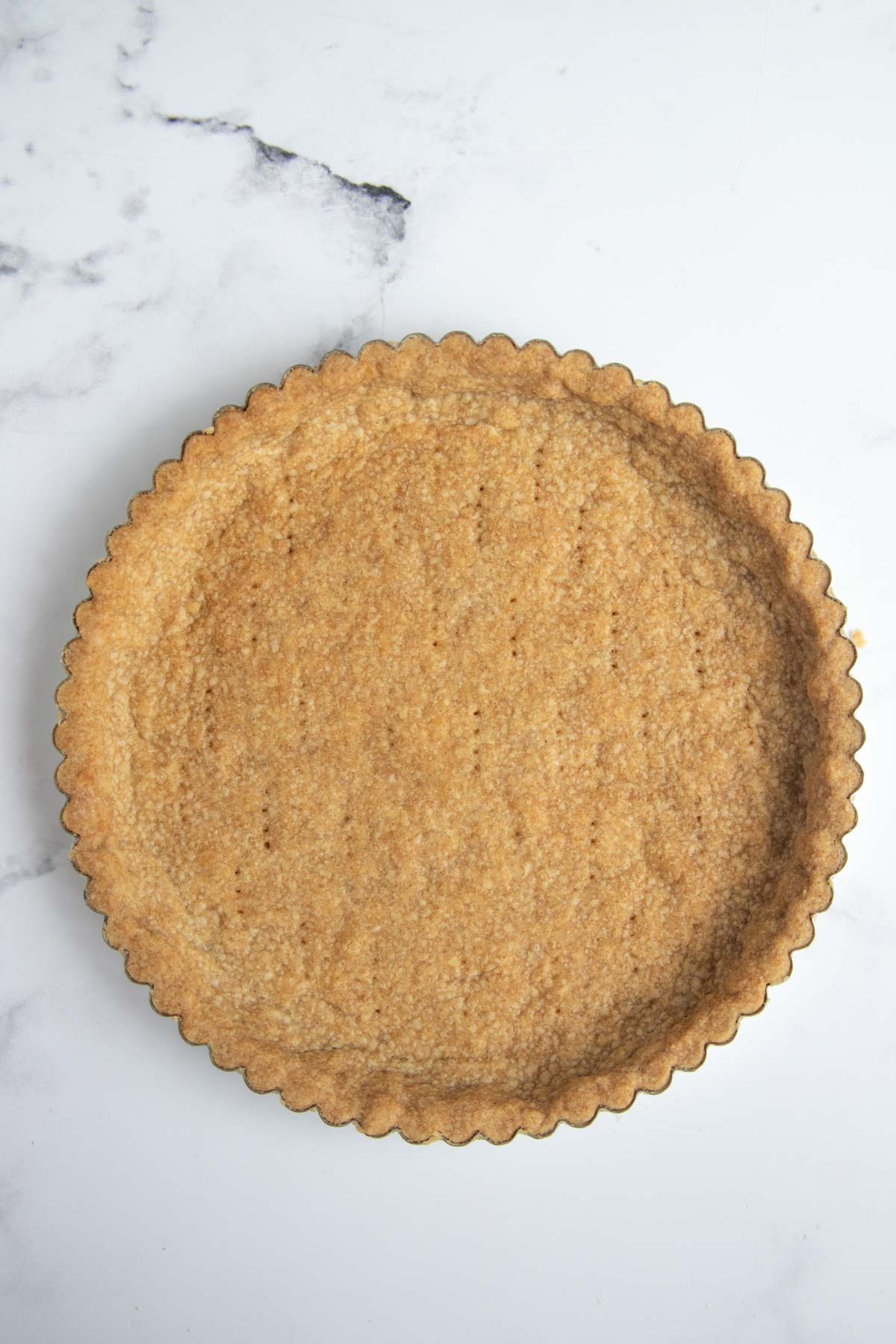 Fully baked tart crust