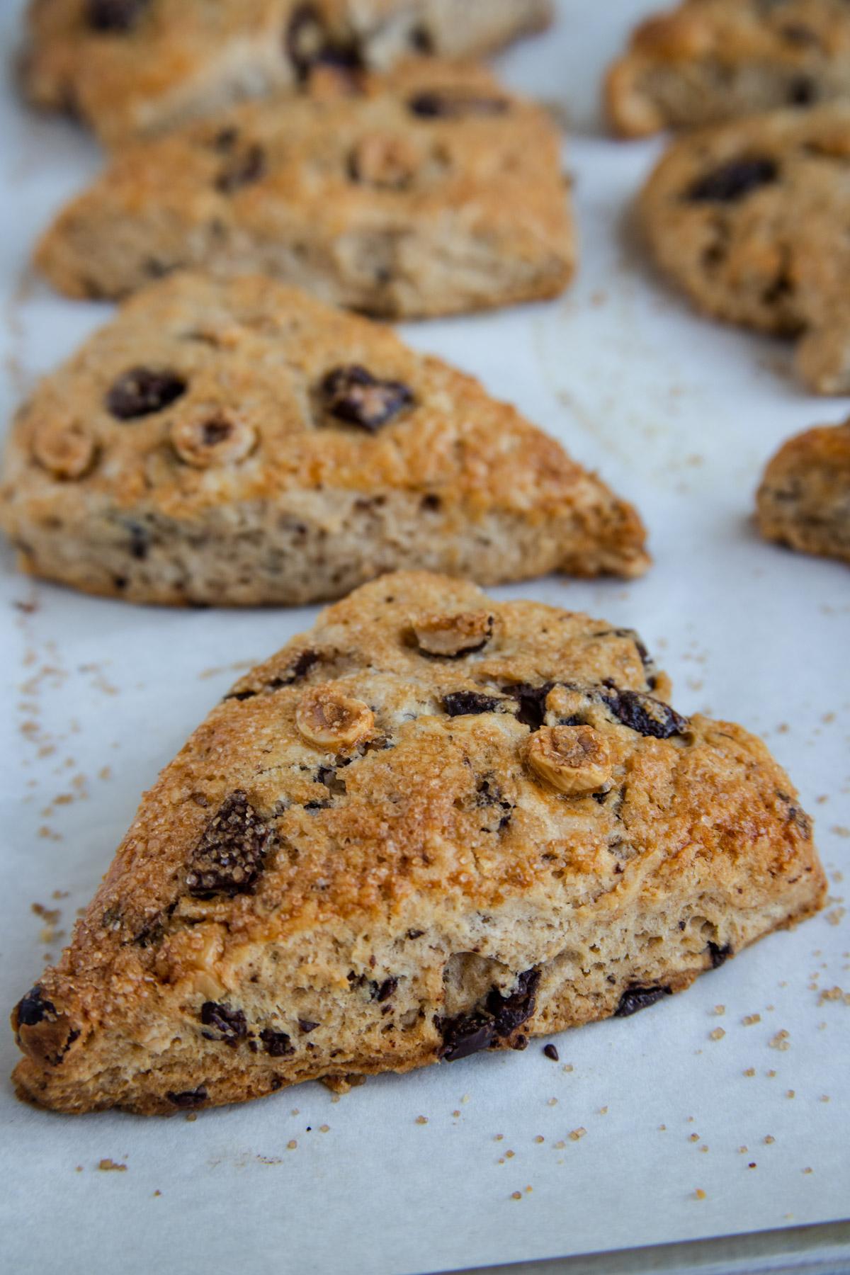 Baked chocolate hazelnut scones on the baking sheet