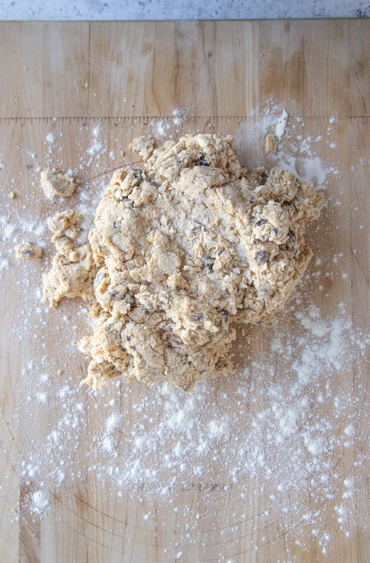 The chocolate hazelnut scone dough on a wooden board