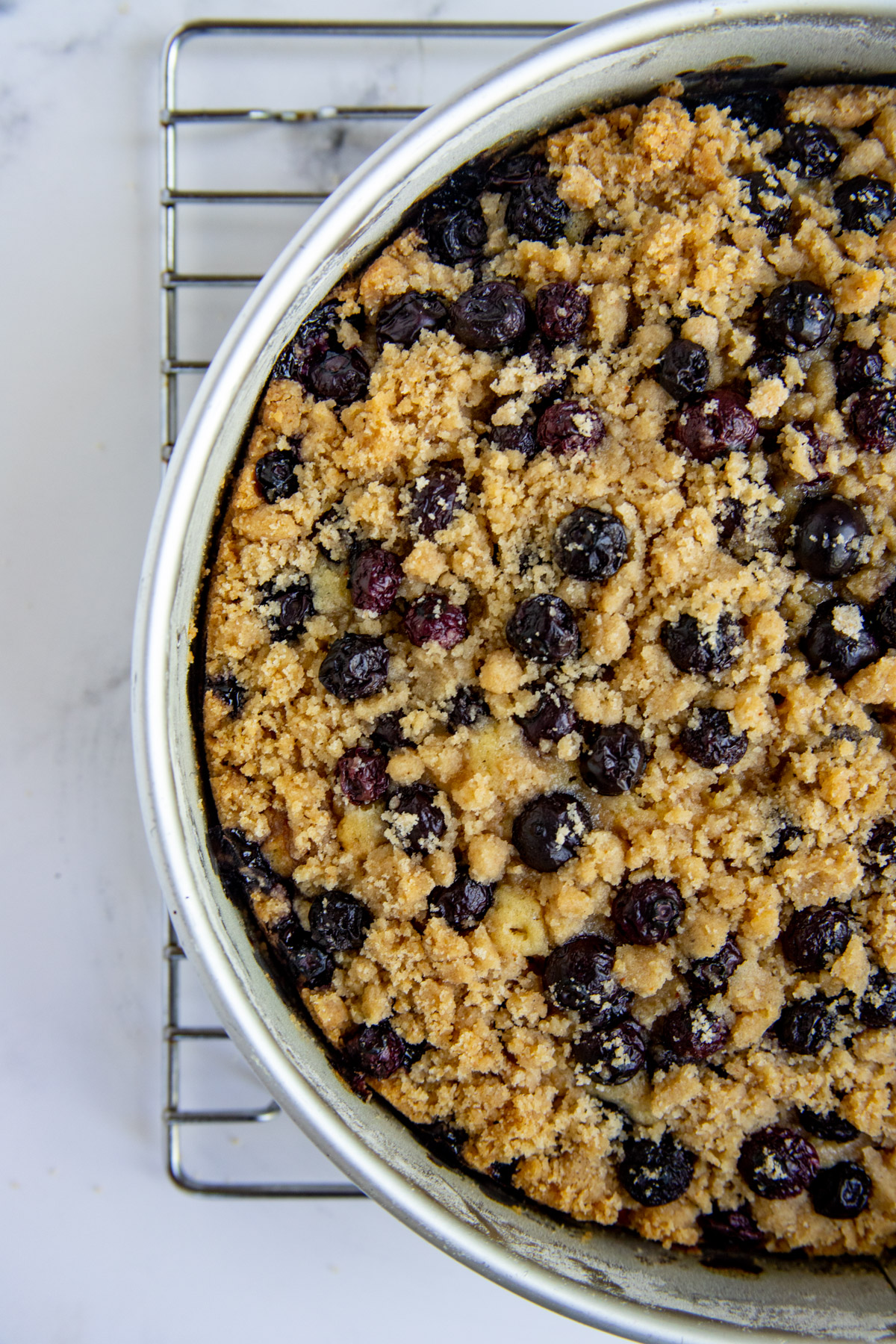 Baked Blueberry Coffee Cake on cooling rack