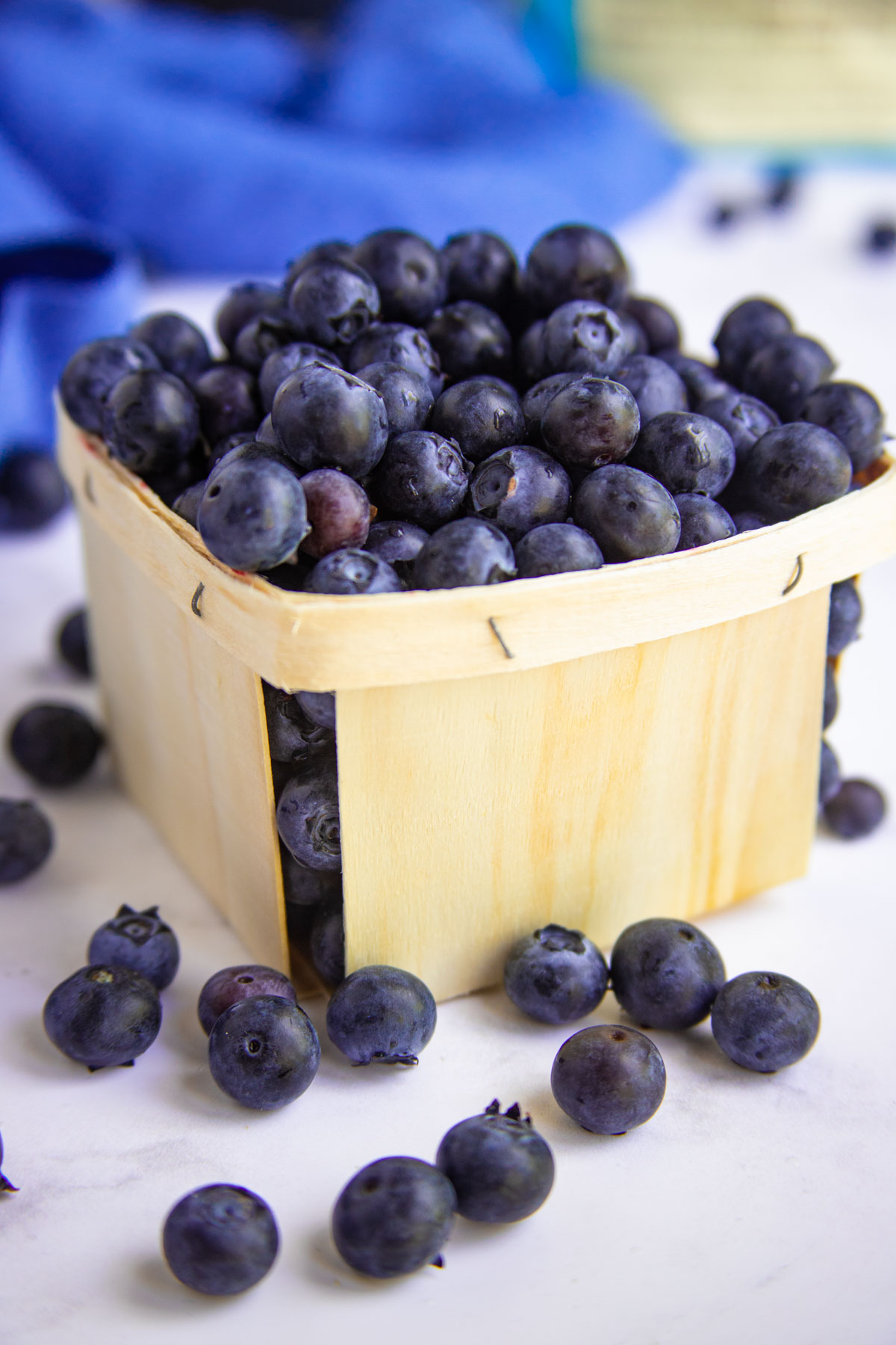 Fresh Blueberries in a wooden container