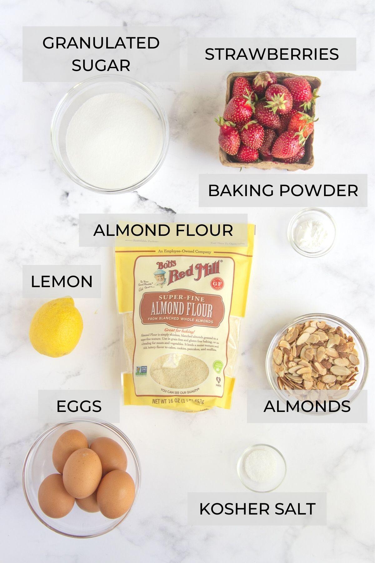 Strawberry Almond Cake Ingredients - Sugar, strawberries, baking powder, almonds. kosher salt, eggs, almond flour and lemon