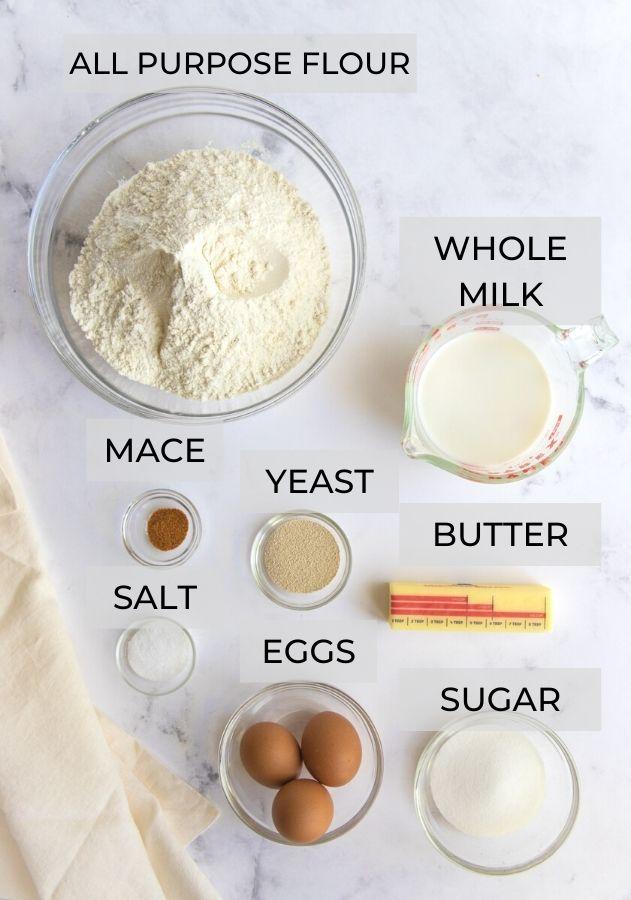 Yeast doughnut ingredients - All Purpose Flour, Whole Milk, Butter, Sugar, Eggs, Yeast, Salt and Mace
