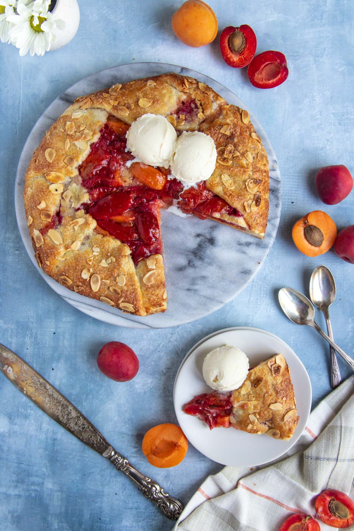 Apricot and almond galette topped with ice cream and surrounded by fresh apricots