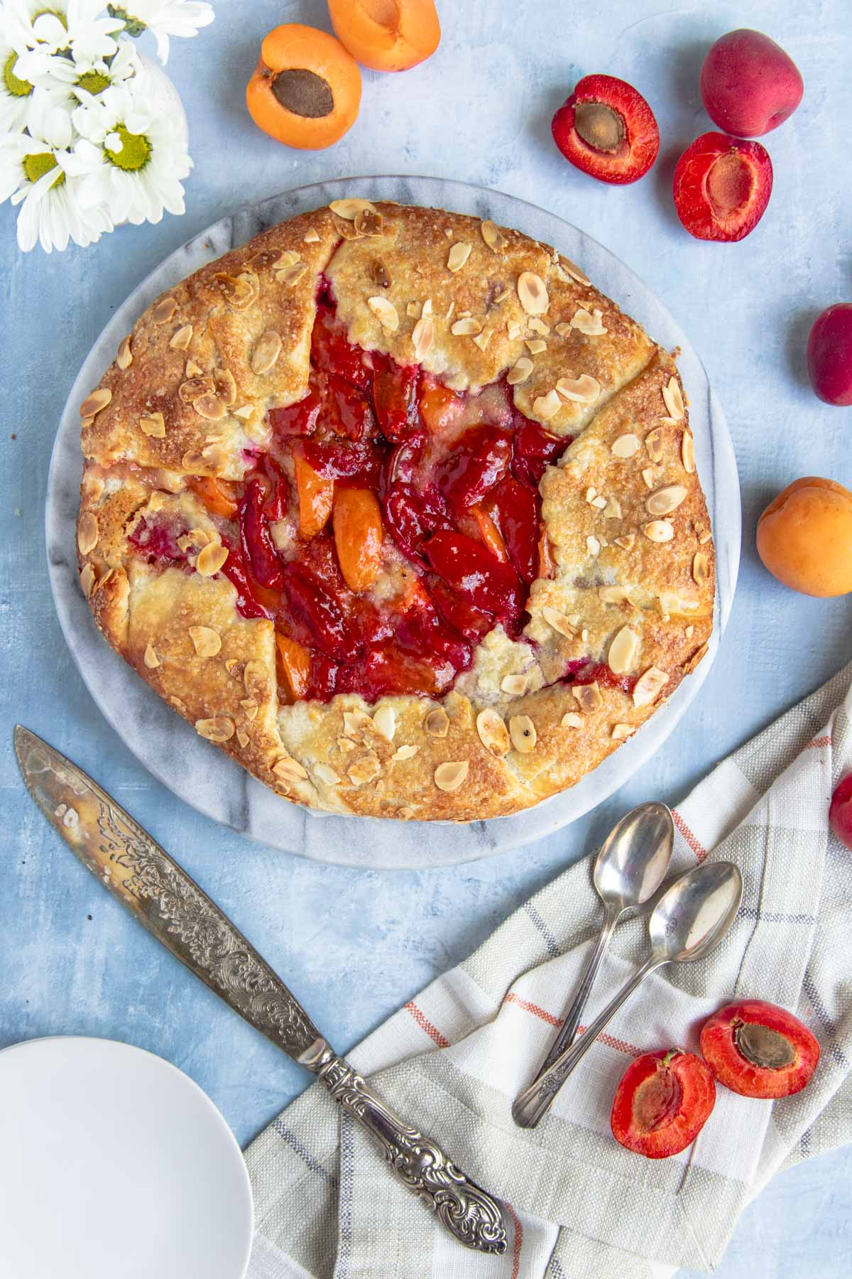 Apricot and almond galette on a serving platter surrounded by fresh apricots