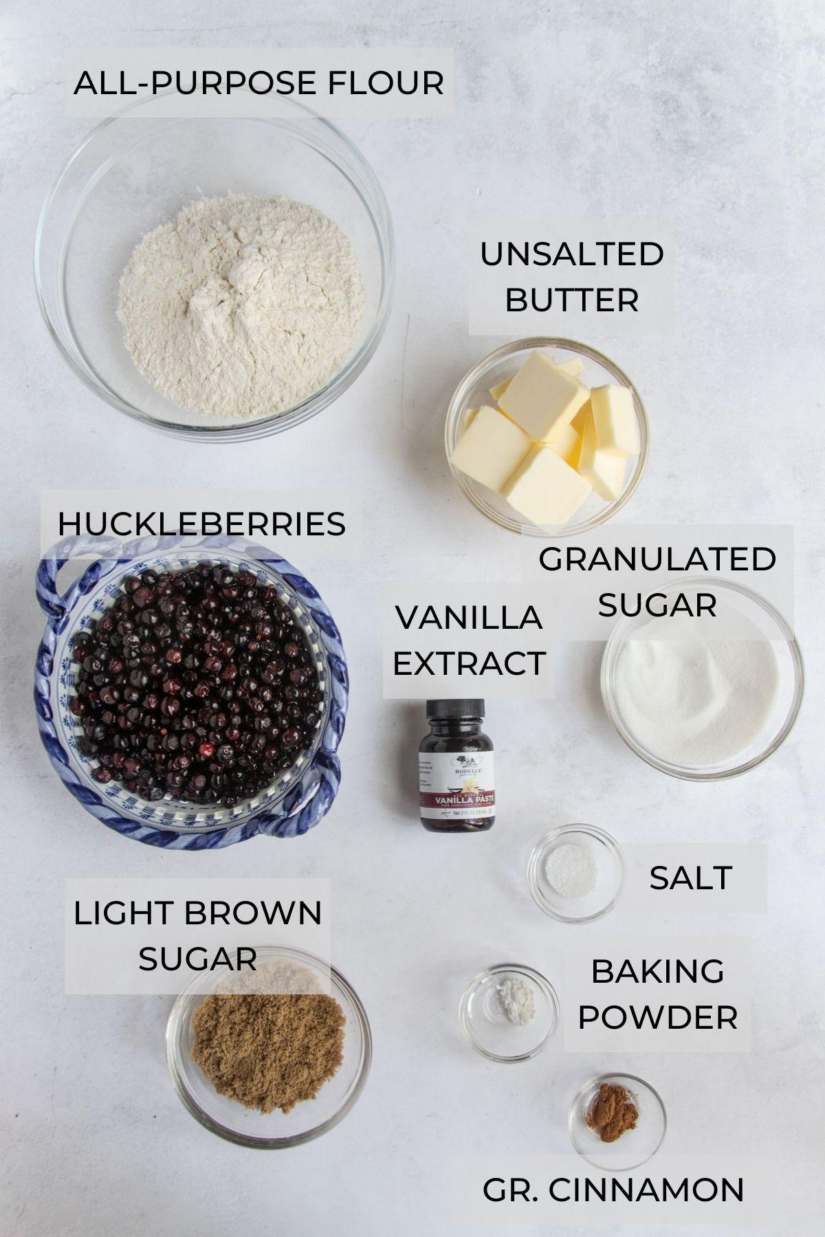 Huckleberry Crumb Bars ingredients - flour, unsalted butter, white sugar, brown sugar, salt, vanilla extract, ground cinnamon, baking powder and fresh huckleberries
