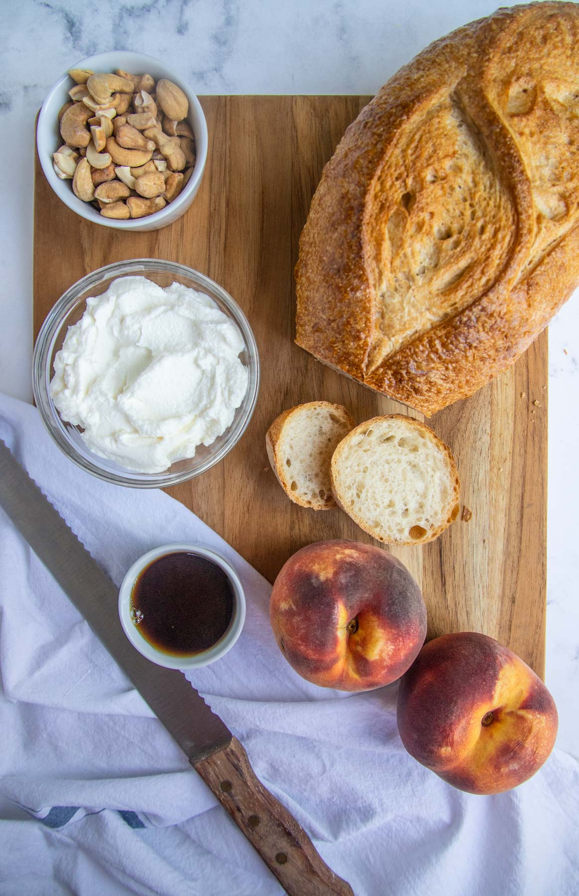 Tartine Ingredients - Sourdough Bread, Peaches, Ricotta, Maple Syrup and Cashews