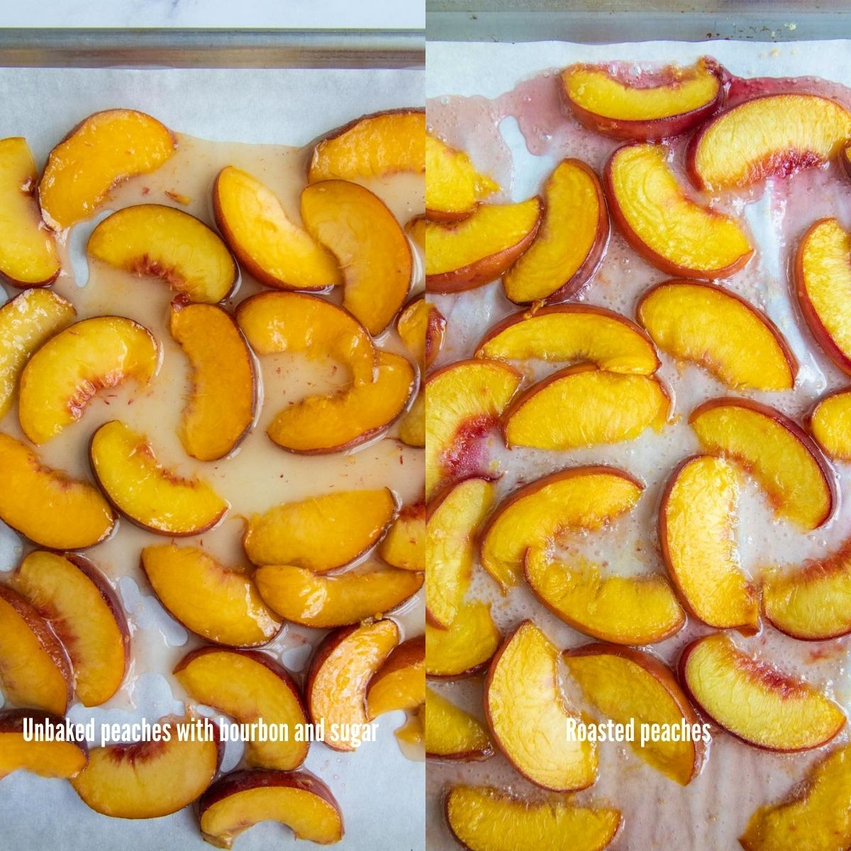 Side by side picture of fresh peaches and roasted peaches